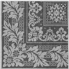 Tischdecke---can also do in filet crochet Filet Crochet Charts, Crochet Doily Patterns, Crochet Borders, Crochet Cross, Crochet Home, Crochet Doilies, Cross Stitch Borders, Cross Stitch Charts, Cross Stitch Designs