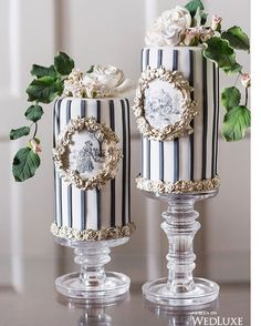 """We are in love with these tall hand painted mini cakes featured in Our amazing styled shoot """"Toile du Jouy """" as seen in the current edition of @wedluxe ! photo by @5ive15ifteen in collaboration with @rachelaclingen @lauraandcoevents @langdonhall @paperandposte @fancyfaceinc !"""