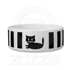 Shop Black and White Cat Cartoon - Pet Bowl created by stdjura. Black White Stripes, Black And White, Pet Bowls, Stripes Fashion, Pet Gifts, Ceramic Bowls, Keep It Cleaner, Your Pet, Cartoon
