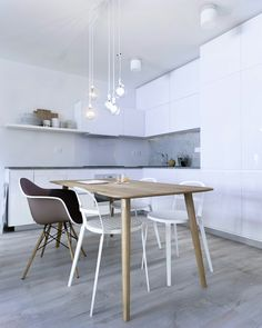 Interior design_ Scandinavian elements_collection of pop art_ white kitchen_ my visualisation in program One Bedroom Apartment, Scandinavian, Pop Art, Dining Table, Bratislava, 3d, Interior Design, Kitchens, Furniture