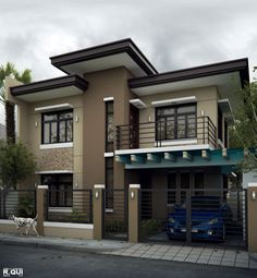We've gathered our favorite ideas for Alluring Modern Residential House Home Design, Explore our list of popular small living room ideas and tips including Alluring Modern Residential House Home Design. 2 Storey House Design, Bungalow House Design, House Front Design, Small House Design, Modern House Design, Simple House Exterior, Modern Exterior House Designs, Modern Architecture House, Architecture Design
