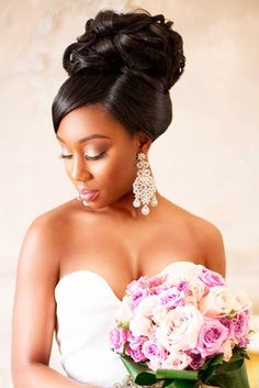 Black Women Wedding Hairstyles ❤ See more: http://www.weddingforward.com/black-women-wedding-hairstyles/ #weddings
