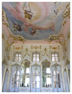 This image identifies the Rococo period with the pale colours and mirrors Rococo interior of Esterháza Palace in Fertod, Hungary. Often referred to as the Versailles of Hungary. Architecture Baroque, Beautiful Architecture, Ancient Greek Architecture, Angel Aesthetic, Renaissance Art, Versailles, Ethereal, Aesthetic Wallpapers, Beautiful Places