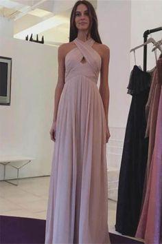 Pink A-line/Princess Prom Dresses, Pink Chiffon Long A-line Halter Simple Cheap Elegant Prom Dresses #princesspromdresses #promdresses #pinkpromdresses #eveningdresses