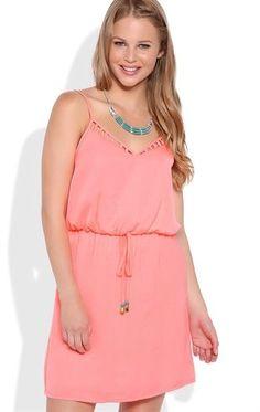 Deb Shops A-Line Dress with Lattice Neckline and Drawstring Waist $35.00
