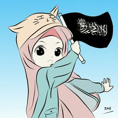 (Original Picture by Kisr) Cartoon Pics, Cartoon Art, Cute Cartoon, Anime Chibi, Kawaii Anime, Anime Art, Hijab Drawing, Islam Marriage, Islamic Cartoon