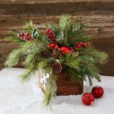 Red and Green Christmas Floral Arrangement