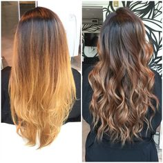 A M B E R || before and after.  Toned down her balayage Ombre to a subtle brown to bronzey color. || #shampusalon #beforeandafter #balayage #balayageombre #houstonhair #houstonsalons #houstonbalayage #houstoncolor #houstonombre