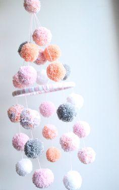 POM POM MOBILE  pink  peach  grey  white  confetti by sprinklybaby