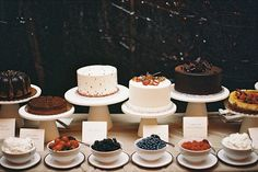 Cake buffet with choice of toppings | 30 Pieces of Swoon-Worthy Inspiration for the Bohemian Bride via Brit + Co.
