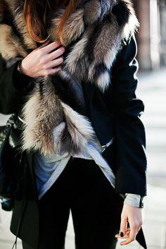 street #style fur + layers @wachabuy