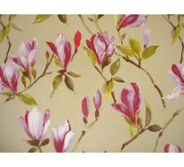 Pink magnolias on natural cotton print curtain fabric £12.50