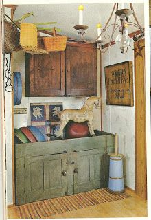 Old Green Cupboard...painted wooden dough bowls & early primitive horse.
