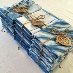 Hand dyed indigo shibori tie-dye linen/cotton tea towels