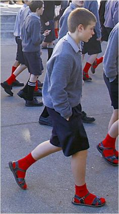 britishjesussandals: of my favourite photos of all time. 3 lads from Palmerston North Boys High School in New Zealand, wearing their roman sandals, shorts and red socks. Sadly though this is not their uniform, this is for Red Socks Day in NZ, a. Cute 13 Year Old Boys, Cute Boys, Kids Boys, School Boy, School Uniform, High School, Grey School Shorts, Daily Fashion, Boy Fashion