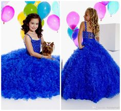 Wholesale Crystal Evening - Buy 2014 -Pageant Dress Spaghetti Ball Gown With Beading Ruffled Floor-Length Backless Blue Tull & Organza Girl'...