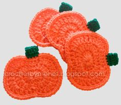 I think these would make a cute banner- CrochetByMonet: Crochet Pumpkin Coasters Pattern Holiday Crochet, Crochet Gifts, Free Crochet, Knit Crochet, Autumn Crochet, Yarn Projects, Crochet Projects, Crochet Coaster Pattern, Crochet Fall Coasters