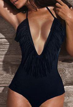 black fringe swimsuit