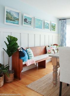 Lake House Summer Tour with beachy coastal colourful entry hall dining room and deck at the happy housie-3