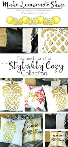 This Collection is full of hand-painted fabrics, texture and metallics. Add them to your home decor. These Featured Products are a few of my favorites. Make Lemonade Pillowcase. Handpainted, handcrafted pillowcases. Easy to swap out items to change up your decor seasonally. Browse shop for current collection or contact for custom work.