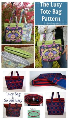 Lucy Tote Bag pdf downloadable sewing pattern. This stylish tote bag, for intermediate sewers, has a few nice touches we think you'll like.