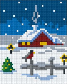 Pixel hobby Home at Christmas - Pixel hobby Home at Christmas - Tiny Cross Stitch, Cross Stitch Borders, Cross Stitch Kits, Cross Stitch Charts, Cross Stitch Designs, Cross Stitching, Cross Stitch Patterns, Cross Stitch Christmas Ornaments, Christmas Cross