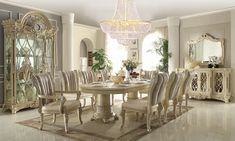Round Dining Room Sets, Formal Dining Tables, Elegant Dining Room, Luxury Dining Room, Round Tables, Dining Rooms, Dining Table Dimensions, Upholstery Fabric For Chairs, Furniture Dining Table