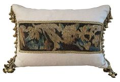 """Linen Pillow  w/ 18th-C.Tapestry - 24"""" L x 16""""H"""