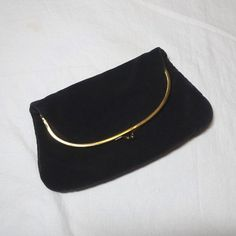 1950s Vintage Ingber Black Velvet Clutch Evening Purse, Bag, Fold Over Style, Kissing Clasp, Vintage Purse, Black Faille Lining, Prom, Party by VictorianWardrobe on Etsy