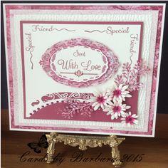 Phills' Crafty Place sentimentally yours scribbled corners and baroque sentiments, snakeskin EF. delicate fronds and delicate daisies SB curved borders 1 Birthday Cards For Women, Happy Birthday Cards, Card Making Inspiration, Making Ideas, Friendship Cards, Flower Cards, Box Art, Sue Wilson, Christmas Cards