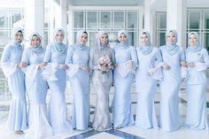Party Themes For Women Ladies 55 Ideas Hijab Prom Dress, Muslimah Wedding Dress, Hijab Style Dress, Muslim Wedding Dresses, Bridesmaid Dresses 2018, Bridesmaid Outfit, Bridesmaids, Pastel Blue Wedding, Gaun Dress