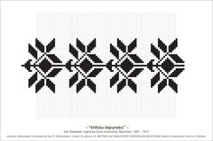 Semne Cusute: MOTIVE: trifoiu iepuresc (P10, M18) Loom Beading, Beading Patterns, Knitting Patterns, Folk Embroidery, Cross Stitch Embroidery, Simple Cross Stitch, Textile Art, Pixel Art, Needlework