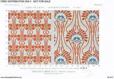 D.M.C. Point de Croix Nouveaux Dessins (1re Série) page 11. Art nouveau all over patterns, vaguely floral, red and red and blue