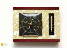 Mid Century Nacre WEATHER STATION - Thermometer Barometer Nelson Modern Germany mcm 60s 70s Mother-of-pearl
