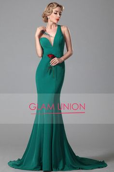 2016 nueva llegada vestidos de noche de la gasa de la sirena del tren del barrido MXN 3100.06 GUP3LN5Z4X - GlamUnion.com for mobile