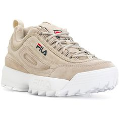 Fila Disruptor sneakers (€120) ❤ liked on Polyvore featuring shoes, sneakers, leather trainers, fila footwear, fila, fila sneakers and fila trainers
