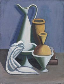 """Danish artist Vilhelm Lundstrøm (1893-1950) """"Opstilling med vandkande, håndklæde…"""