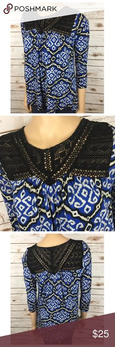 "Lucky Brand Lace Crochet Neck Blue Soft Knit Loose Tag Size - S Bust Measured Across - 20"" Length from Shoulder to Hem - 27"" Great used condition! Always open to reasonable offers. Lucky Brand Tops Blouses"