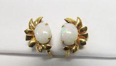 Vintage Estate Mid Century 14K Gold Opal Earrings