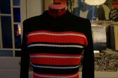 vintage 70s turtleneck roll neck rib sweater jumper red black white stripes 1970s