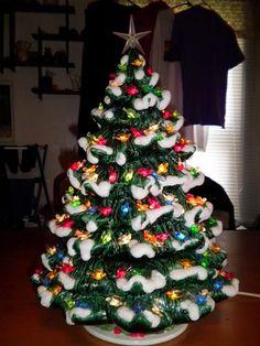 "Ceramic Christmas Tree Lighted 14"" Nowell Vintage Mold - Green ..."