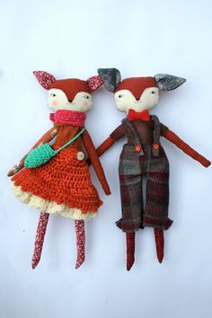 sweet fox couple little lu two 13ish handmade cloth por humbletoys