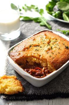 Chili Con Carne Corn Bread Pie - the cornbread batter takes just minutes to make!