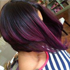 A-Line haircut with ombre purple bob, dark purple hair color, ombre color, Dark Purple Hair Color, Ombre Hair Color, Ombre Bob, Purple Ombre, Purple Bob, Purple Tips, Deep Purple, Violet Ombre, Black Ombre