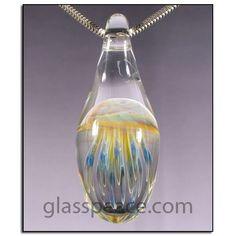 Blown Glass Jellyfish Pendant by Glass Peace $24.95