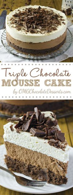 One of the most decadent chocolate cakes ever – Triple Chocolate Mousse Cake #chocolate #cakes #recipe