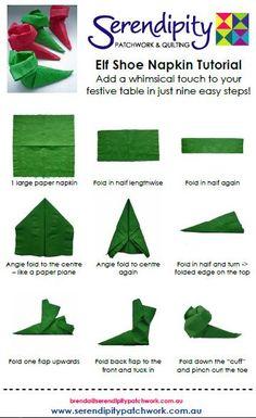 Elf shoe napkins - so clever!