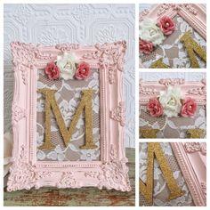 Nursery Letter M Baby Girl Nursery Letters Pink and Gold Wall Letters Shabby Chic Nursery Decor (42.00 USD) by SeaLoveAndSalt #ShabbyChicDecor