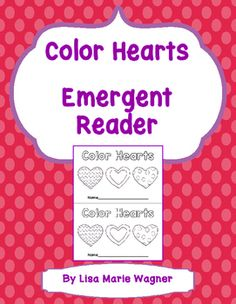"""This simple emergent reader uses the phrase """"This heart is..."""" to introduce the color words."""