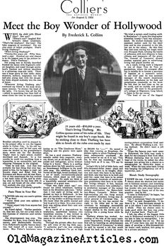 IRVING THALBERG DURING THE SILENT FILM ERA,1924....sometimes you got to read about yourself in the latest magazine or news paper!